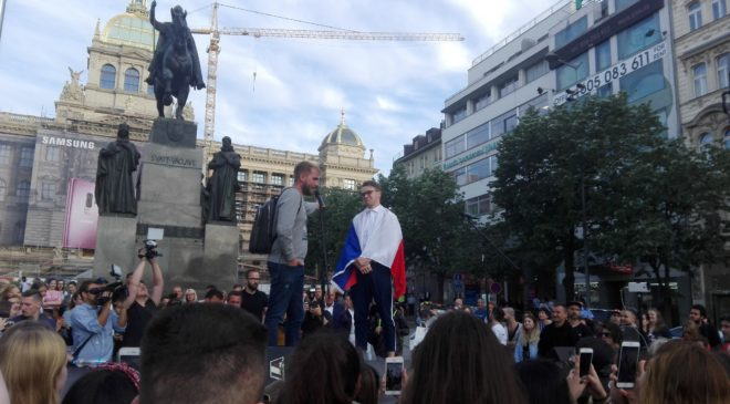 Mikolas Josef vystoupil na Václavském náměstí